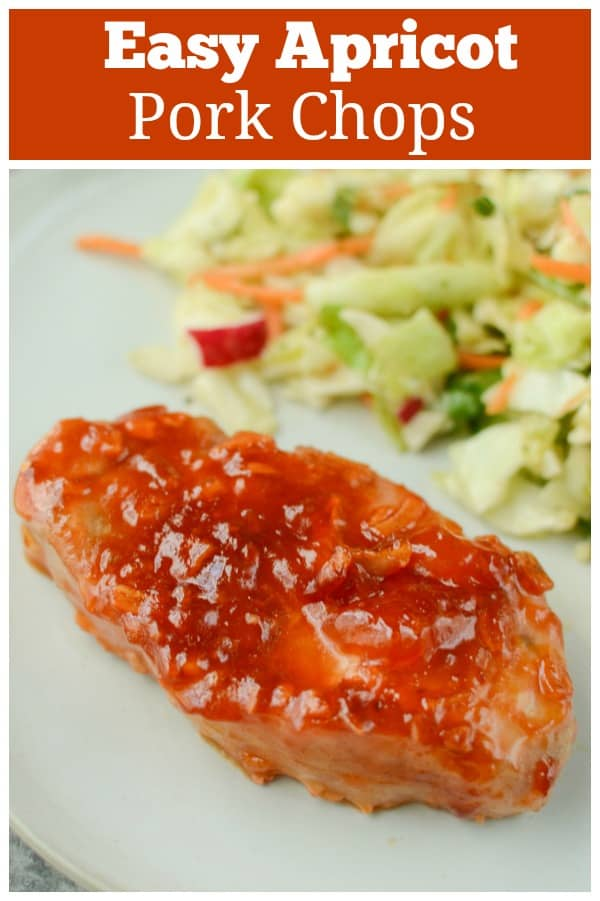 Apricot Pork Chops - easy, 4 ingredient pork chops in a sweet and tangy sauce. The whole family is going to love this recipe!
