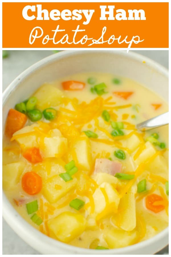Cheesy Ham Potato Soup - creamy, cheesy soup filled with potatoes, carrots, ham, and peas. It's a big bowl of comfort!