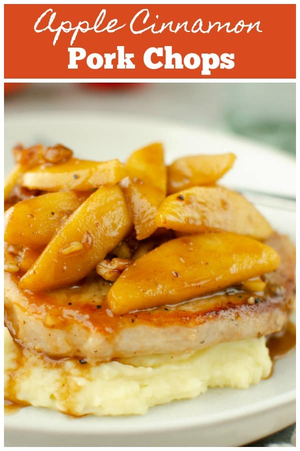 Apple Cinnamon Pork Chops - sautéed pork chops topped with soft cinnamon apples. Easy 30 minute dinner!