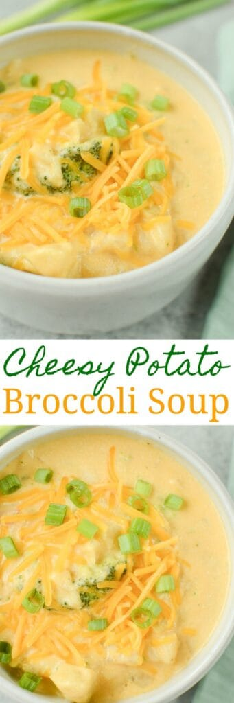 Slow Cooker Cheesy Potato Broccoli Soup - easy vegetarian soup cooked in the crockpot. It starts with frozen hash browns and frozen broccoli so there's almost no prep involved! A kid favorite during fall and winter!