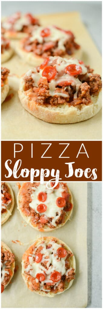 Open Faced English Muffin Pizza Sloppy Joes - sloppy joes made with ground beef, mini pepperoni, and pizza sauce! Spooned onto toasted English muffins and topped with mozzarella and more pepperoni. Easy 30 minute dinner the whole family will love!