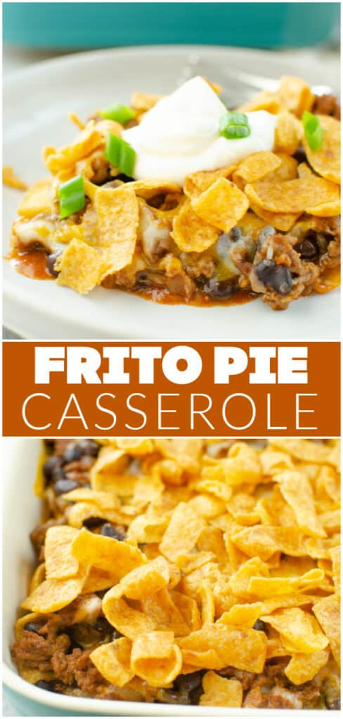 Frito Pie Casserole - layers of crunchy Fritos, seasoned ground beef, black beans, enchilada sauce, and cheese all baked together! Easy, delicious 30 minute dinner!