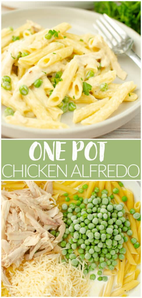 One Pot Chicken Alfredo - easy 1 pot dinner the whole family will love. Pasta, chicken, and peas tossed in a creamy Parmesan sauce, cooked in just 25 minutes!